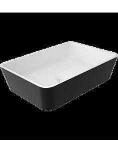 Umywalka nablatowa 50x35 biało-czarna Omnires Parma UN BCP Marble+