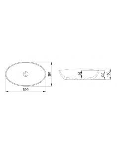 Umywalka owalna nablatowa Omnires 59x36 biała BARCELONABP Marble+