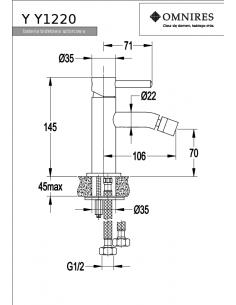 Bateria bidetowa Omnires Y nikiel Y1220NI