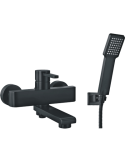 Bateria wannowa naścienna czarna z prysznicem 1-funkcyjnym Omnires Darling DA5031 BL