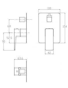 Bateria wannowa podtynkowa chrom/biały Omnires Parma PM7435 CRB