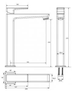 Bateria umywalkowa sztorcowa wysoka chrom Omnires Parma PM7412 CR
