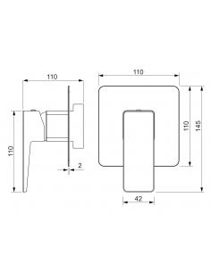 Bateria prysznicowa podtynkowa chrom Omnires Parma PM7445 CR
