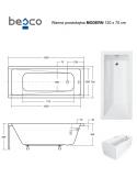 Wanna prostokątna akrylowa Besco MODERN 120 120x70