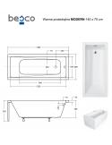 Wanna prostokątna akrylowa Besco MODERN 140 140x70