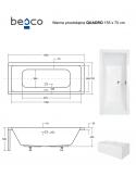 Wanna prostokątna akrylowa Besco QUADRO 155 155x70