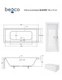 Wanna prostokątna akrylowa Besco QUADRO 165 165x75