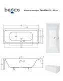 Wanna prostokątna akrylowa Besco QUADRO 175 175x80
