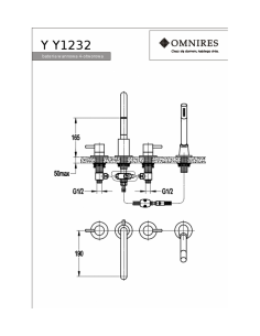 Bateria wannowa 4-otworowa Omnires czarna Y1232BL
