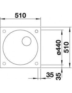 Zlew wpuszczany BLANCO ARTAGO 6 510x510 mm szarość skały bez korka aut. InFino 521756
