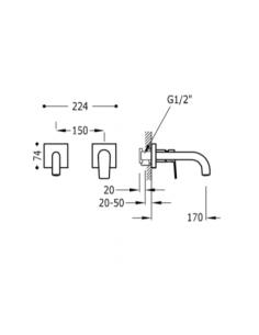 Bateria podtynkowa Tres Project chrom 21120080