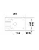 Zlewozmywak BLANCO DINAS XL 6 S COMPACT STAL SZCZOTKOWANA, ODWRACALNY, KOREK AUTO. 525120