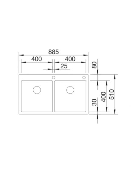 Zlewozmywak BLANCO CLARON 400/400-IF/A STAL DURINOX, KOREK AUTO., INFINO, PUSHCONTROL 525018