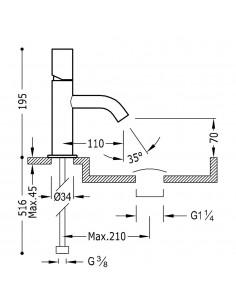 Tres Study-Tres bateria umywalkowa chrom 26190301