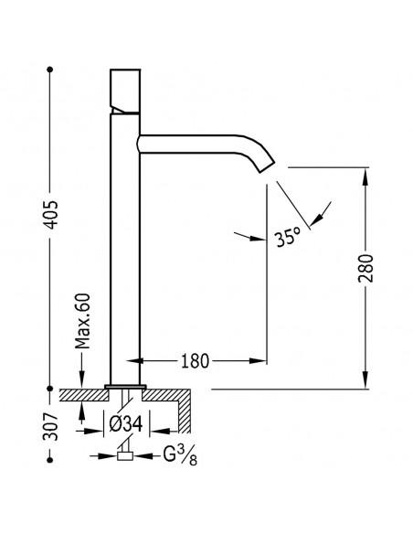 Tres Study Exclusive bateria umywalkowa czarny mat 26130801NMD