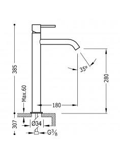 Tres Study Exclusive bateria umywalkowa czarny mat 26230801NMD