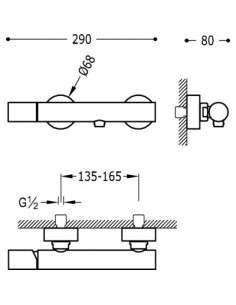 Tres Study Exclusive bateria prysznicowa ścienna czarny mat 26116701NM