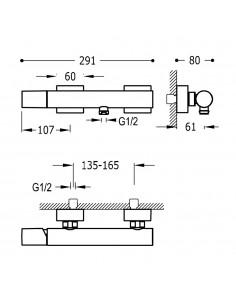 Tres Project bateria prysznicowa ścienna czarny mat 21116701NM