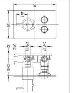 Bateria wannowa podtynkowa termostatyczna Omnires GoClick Y1236GCPROCR