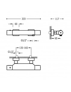 Tres Project bateria prysznicowa ścienna termostatyczna czarny mat 21116409NM
