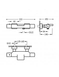 Tres Project bateria wannowo-prysznicowa ścienna termostatyczna z kaskadą czarny mat 21117409NM