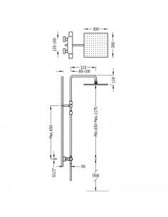 Tres Project zestaw prysznicowy z baterią termostatyczną chrom 21139502