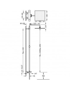 Tres Project zestaw prysznicowy z baterią termostatyczną chrom 21131201