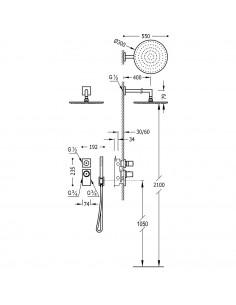 Tres Block-System zestaw prysznicowy z baterią podtynkową termostatyczną czarny mat 20635201NM