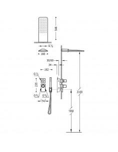 Tres Block-System zestaw prysznicowy z baterią podtynkową termostatyczną czarny mat 20635202NM