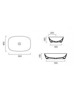 Umywalka nablatowa Catalano COLORI 60x40 cm Cemento Satinato 160APGRLXCS
