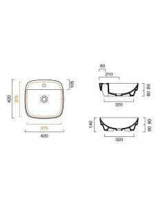 Umywalka nablatowa Catalano COLORI 42x42 cm Cemento Satinato 142GRLXNCS