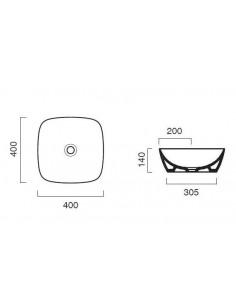 Umywalka nablatowa Catalano COLORI 40x40 cm Cemento Satinato 140APGRLXCS