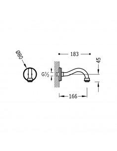 Tres Monoclasic wylewka do baterii ścienna stal 24217302AC