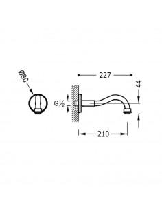 Tres Monoclasic wylewka do baterii ścienna stal 24217301AC