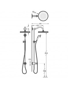 Tres Monoclasic zestaw prysznicowy ścienny stal 24247602AC