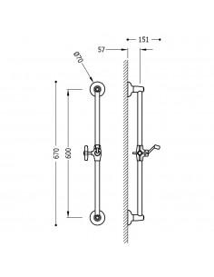 Tres Monoclasic drążek prysznicowy 60 cm stal 24273201AC
