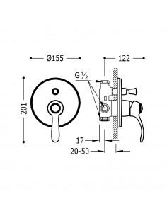 Tres Monoclasic bateria wannowo-prysznicowa podtynkowa stal 24218001AC
