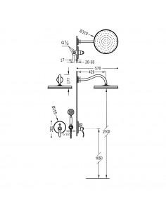 Tres Monoclasic zestaw prysznicowy z baterią podtynkową stal 24218003AC