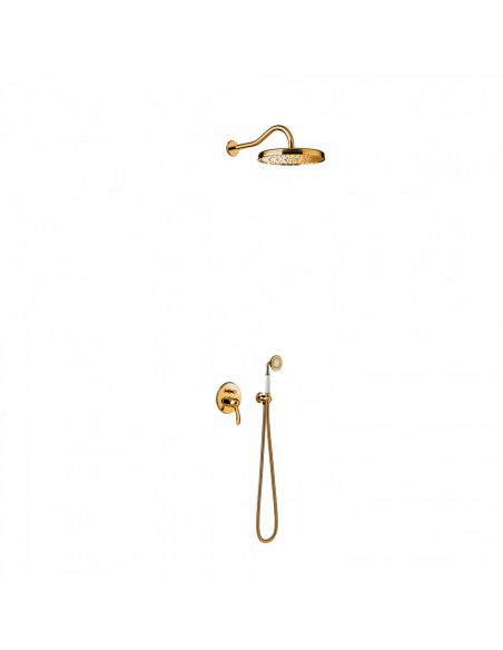 Tres Monoclasic zestaw prysznicowy z baterią podtynkową złoty 24218003OR