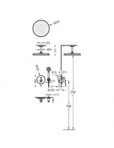 Tres Monoclasic zestaw prysznicowy z baterią podtynkową stal 24218004AC