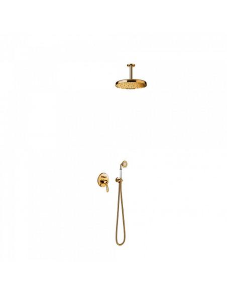 Tres Monoclasic zestaw prysznicowy z baterią podtynkową złoty 24218004OR