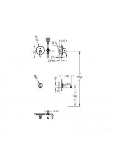 Tres Monoclasic zestaw prysznicowy z baterią podtynkową stal 24218005AC