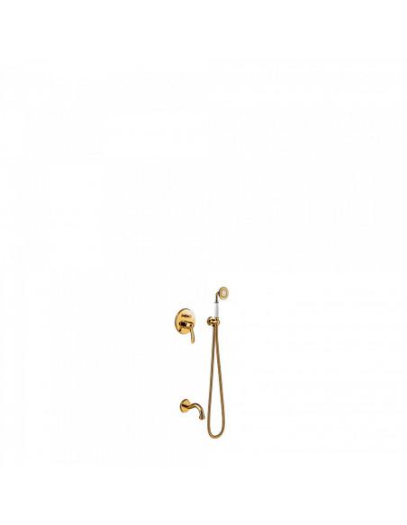 Tres Monoclasic zestaw prysznicowy z baterią podtynkową złoty 24218005OR