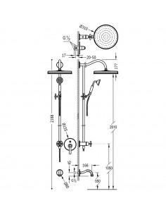 Tres Monoclasic zestaw prysznicowy z baterią podtynkową stal 24218006AC