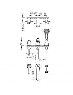Tres Monoclasic bateria wannowo-prysznicowa 3-otworowa stal 24214501AC