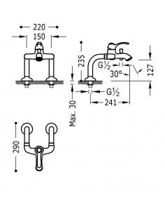Tres Monoclasic bateria wannowo-prysznicowa 2-otworowa stal 24219401AC