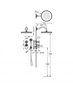Tres Monoclasic zestaw prysznicowy z baterią podtynkową termostatyczną stal 24235202AC