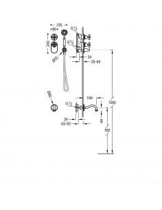Tres Monoclasic zestaw prysznicowy z baterią podtynkową termostatyczną stal 24235201AC