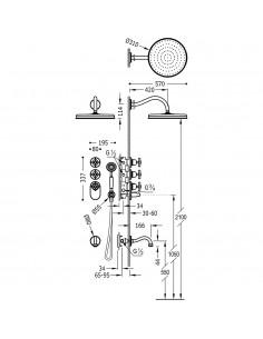Tres Monoclasic zestaw prysznicowy z baterią podtynkową termostatyczną stal 24235301AC
