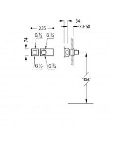 Tres Block System bateria prysznicowa termostatyczna podtynkowa chrom 20725199